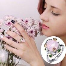 Новинка 2021 кольца с красивым большим розовым камнем модные