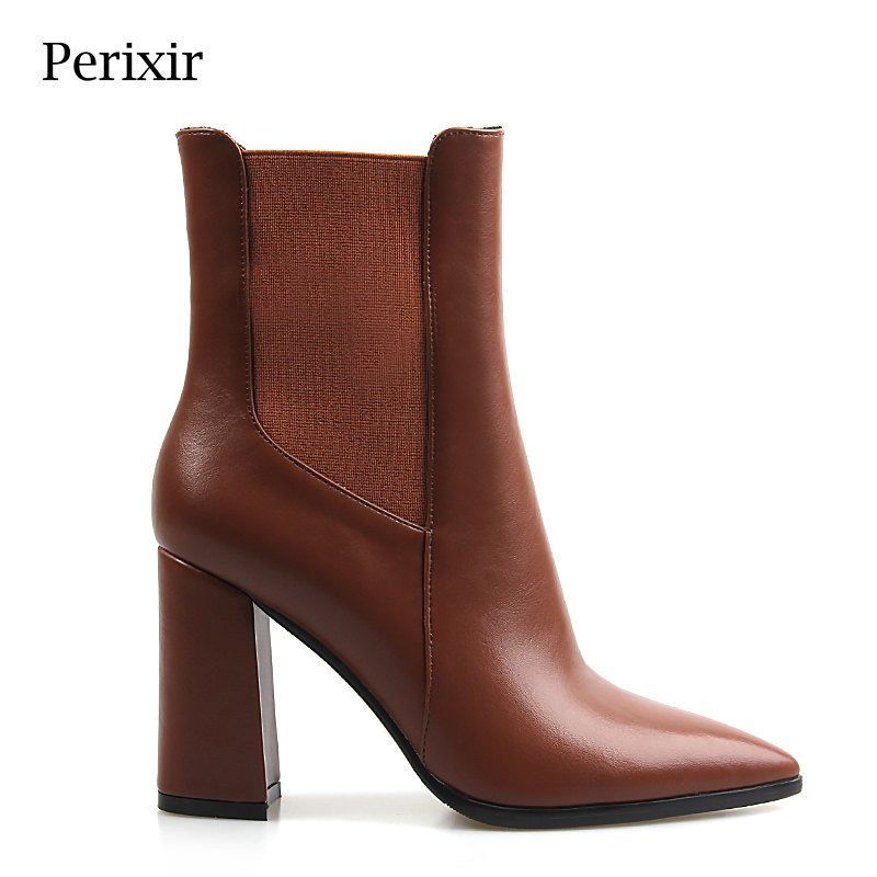 Perixir Women Ankle Pu Short Boots High Heel Boots 9 cm Heel Pointed Toe Square Heel Short Plush Zip Solid Brown Heel Ankle Boot basic 2018 women thick heel ankle boots black pu fleeces round toe work shoe red heel winter spring lady super high heel boots