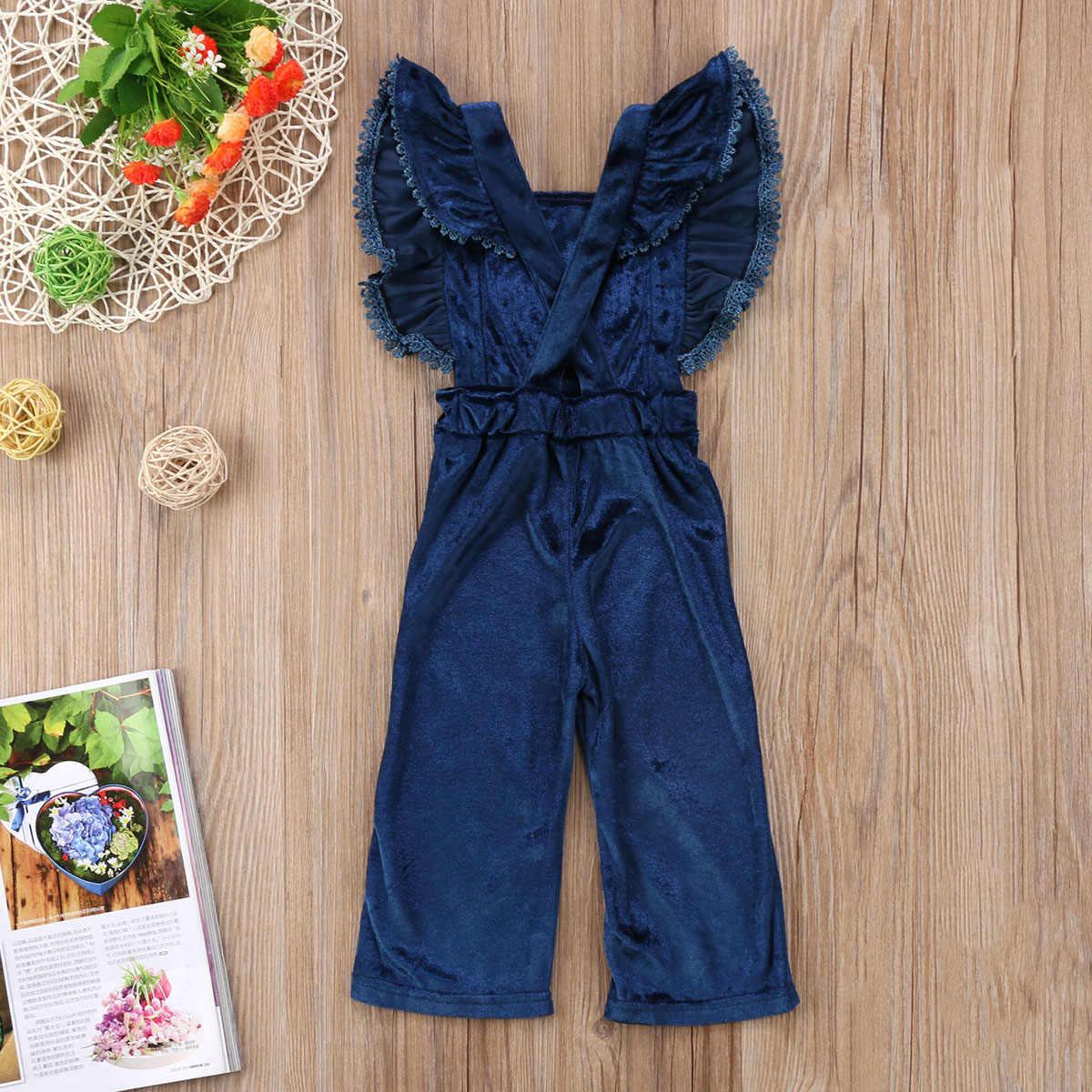 fb7a16429c9d7 PUDCOCO Newest Toddler Kids Girls Velvet Bib Pants Backless Pop Romper  Jumpsuit Outfits summer Unique Suit 0-6Y