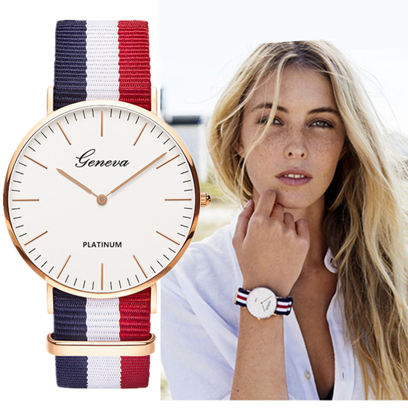 Classic Fashion Stripe Nylon Band Women Watch Top Luxury Brand Men Quartz Wrist Watch Lady Watch Montre Femme Horloge Saat Clock