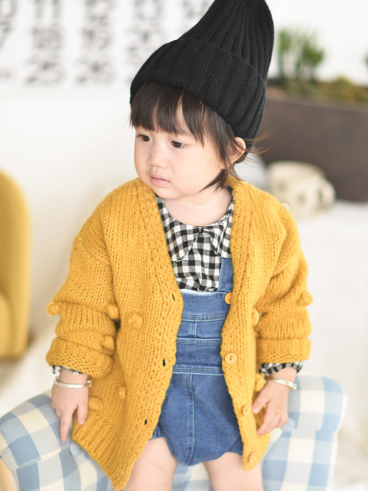 Cardigan Sweater Jacket Ball Girl Winter Child for 17 Hand-Down 1-3-Years-Old