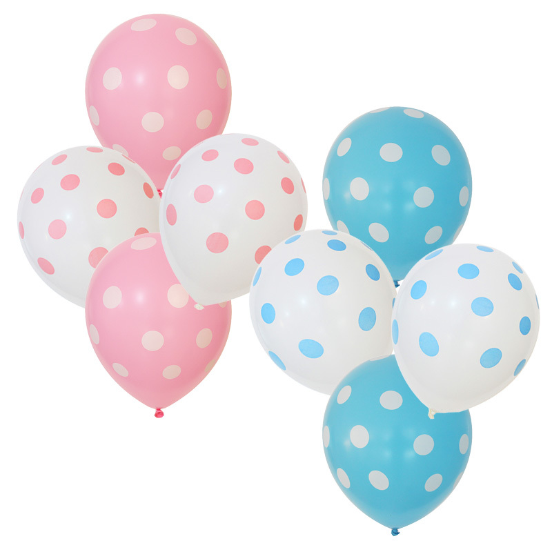 12pcs/lot birthday party balloons baby shower balloon polka dot ballons pink girl blue boy party decorations kid party favor