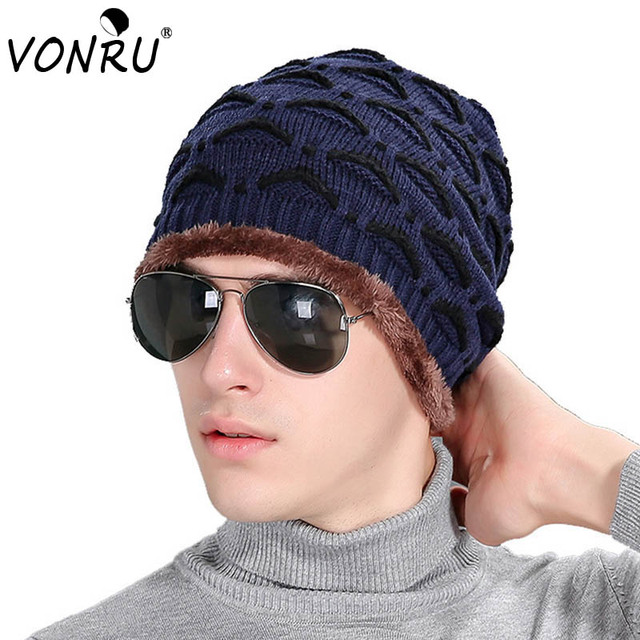 New Skull Beanies Mens Hats Winter Knitted Wave Pattern Crochet