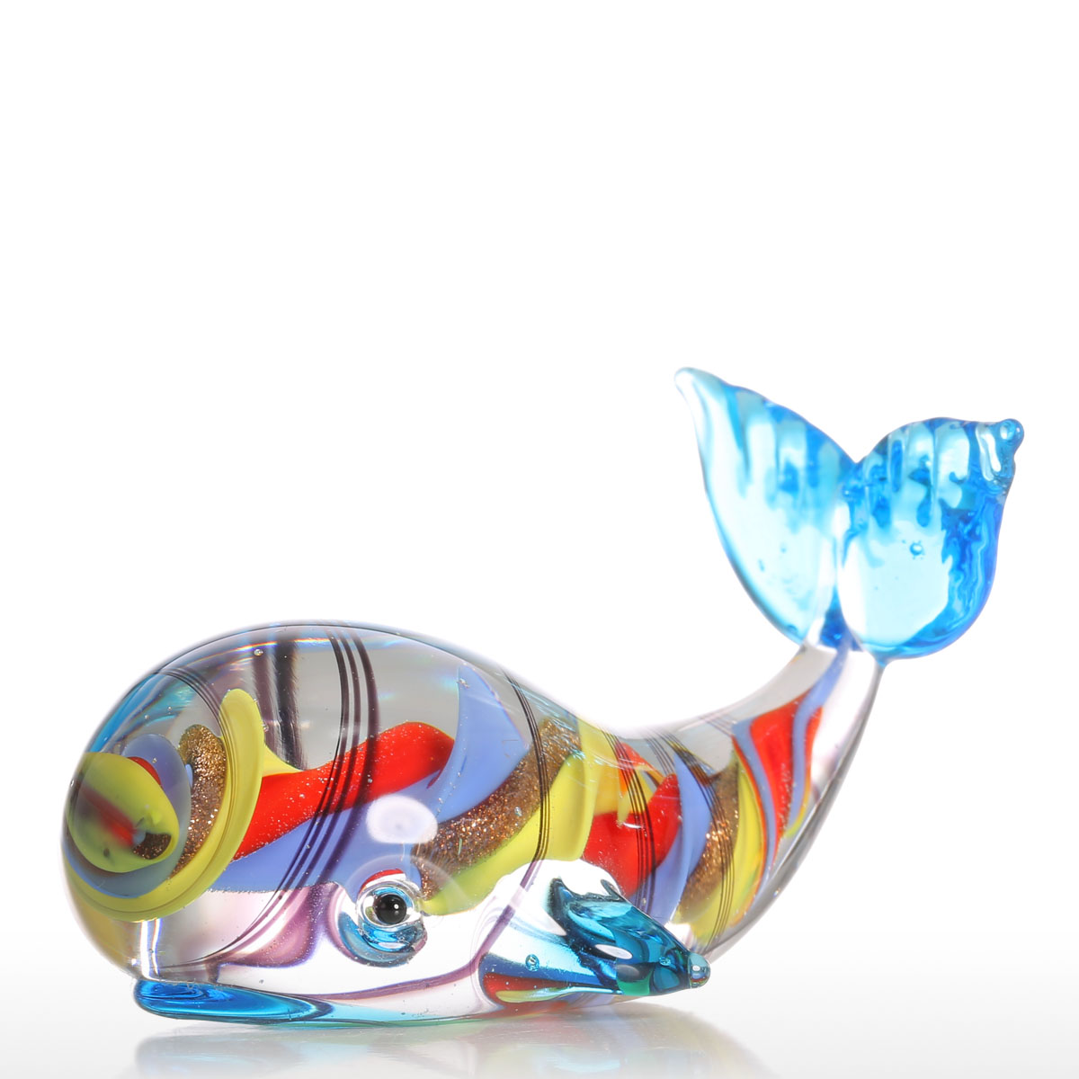 Glass animal ornaments - Tooarts Colorful Whale Gift Glass Stand Ornament Animal Figurine Handblown Home Decor Multicolor For Office Decoration