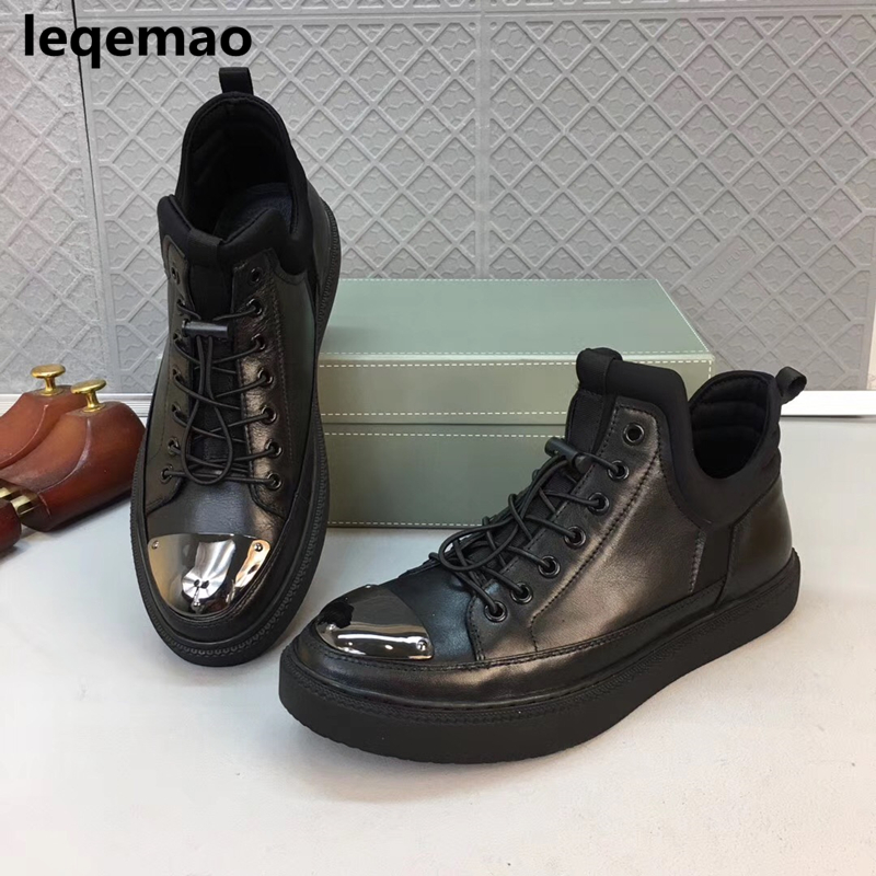New Arrival Spring Autumn Fashion Flats Black Men Casual Shoes Oxford Genuine Leather High Quality Lace-up Comfortable Shoes 2017 new spring autumn men casual shoes breathable black high top lace up canvas shoes espadrilles fashion white men s flats