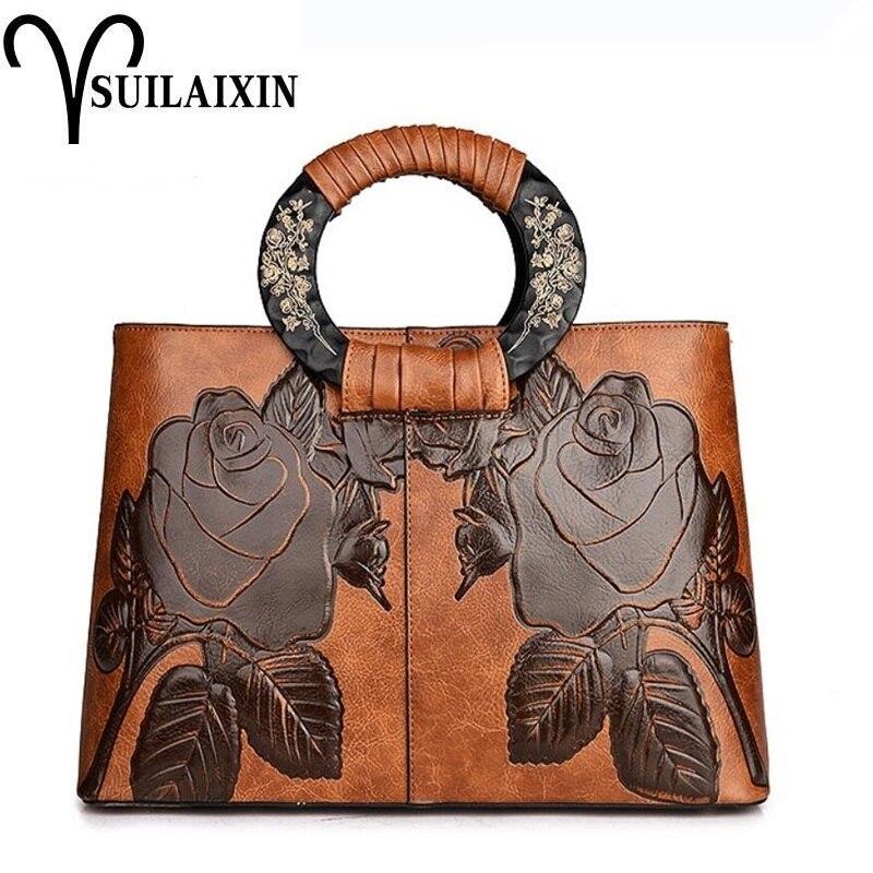 Дизайнерские женские кожаные Хобо ведро сумки большой вышивкой тиснение печать ретро цветочные Роскошные сумки сумка высокого качества