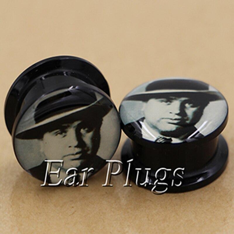 1 pair AL Capone image ear plug gauges tunnel acrylic screw flesh tunnel body piercing jewelry PAP0707