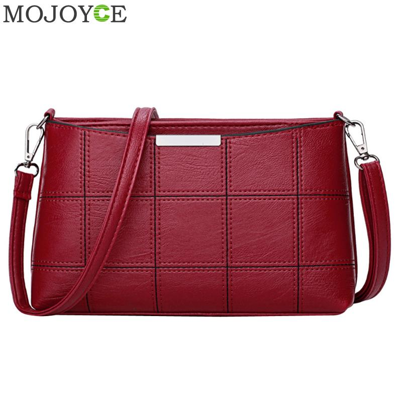 Fashion Women Handbag PU Leather Plaid Messenger Bag Autumn Women Crossbody Shoulder Bags Famous Brand Female Top Handle Handbag