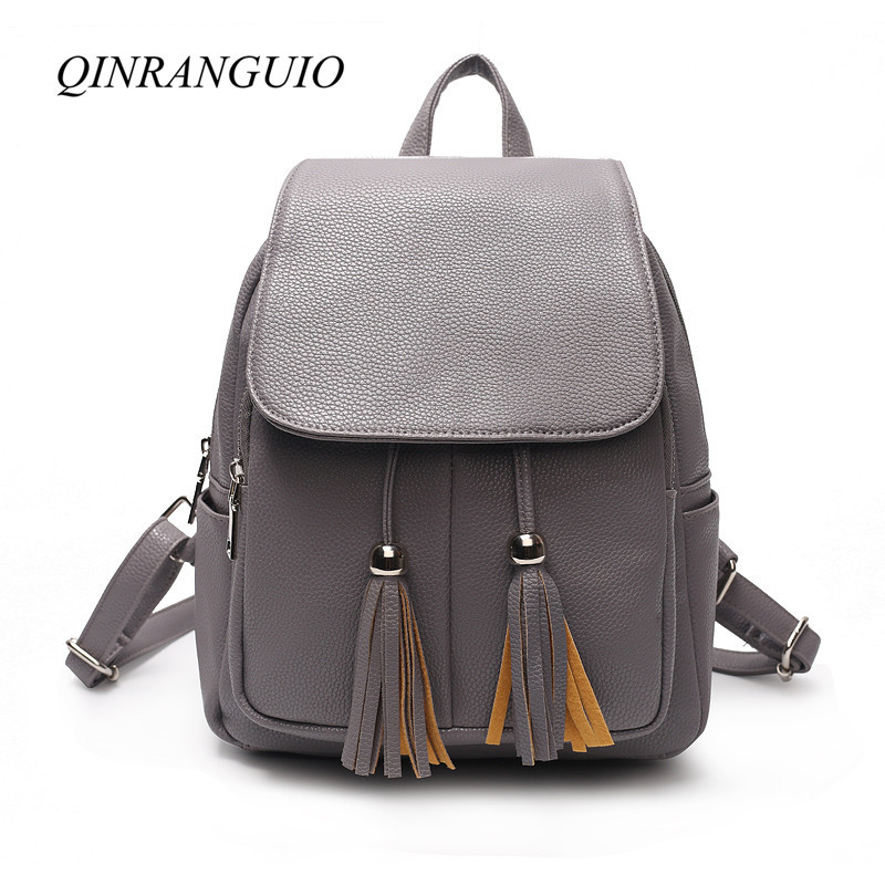 QINRANGUIO Leather Backpack Women Small Backpack 2018 Fashion Women Backpack Tassel School Bags for Teenage Girls Bag Pack tegaote new design women backpack bags fashion mini bag with monkey chain nylon school bag for teenage girls women shoulder bags