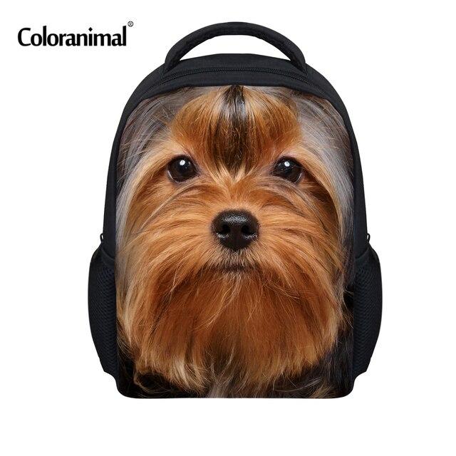 Coloranimal Cute Yorkshire Terrier Dog Mini School Bags for Girls Boys  Children Schoolbag Kindergarten Baby Bookbag Kids Mochila ade839ad8c999