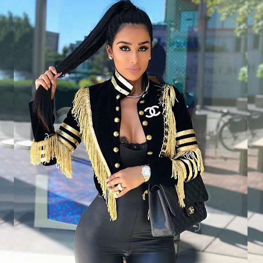 7914ccf3151 Detail Feedback Questions about Fashion New Black with Gold Tassel  Patchwork Button V Neck 2018 Sexy Short Jackets Women Autumn Winter Coat  Verano Causal ...