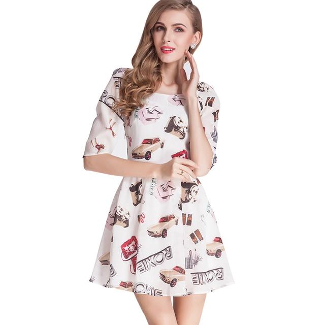 Car Print Mini Dress High Waist Cute Dress Plus Size Cotton And