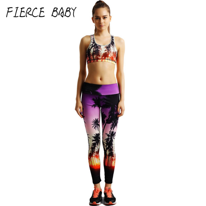 Coconut trees Printing 2017 Women's Yoga sets Beautiful Scenery Print Padded Sports Bra Long Pants Leggings Fitness Gym Suits