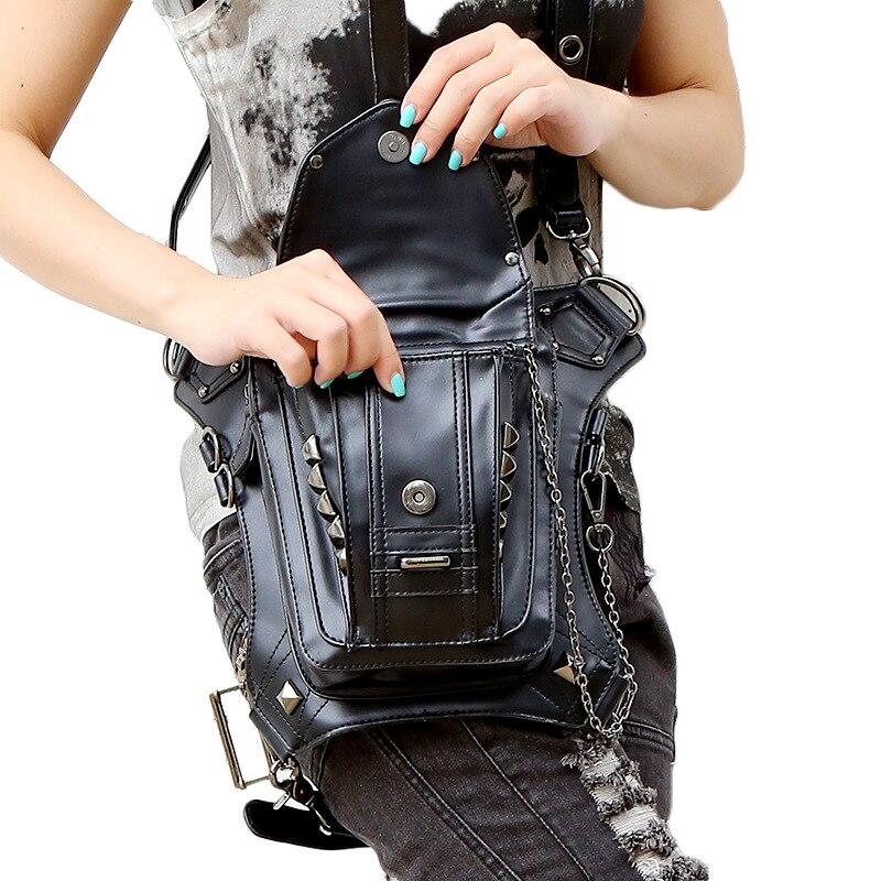 Högkvalitativa kvinnor PU läder droppe ben väska punk rock väska - Bälten väskor - Foto 3