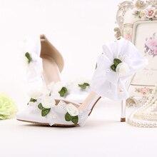 Weiß Spitze Blume Frauen Sandalen Hochzeit Schuhe High Heels Spitz Satin Seide Brautkleid Schuhe Sommer Party Schuhe Frau