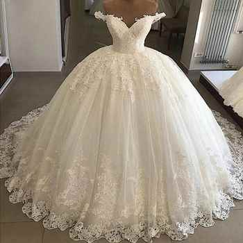 Vintage Vestidos De Novia casamento 2019 Bridal Gowns Ball Gown Lace Applique Wedding Dress Robe De Mariee trouwjurk - Category 🛒 Weddings & Events