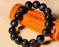 Koraba Fine Jewelry Natural Rainbow Black Obsidian Gemstone Round Beads Stretch Bracelet AAAA 14 Mm Free Shipping