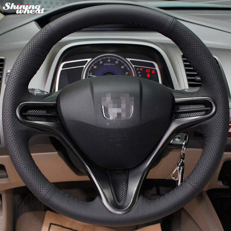 Shining wheat Hand-stitched Black Leather Steering Wheel Cover for Honda Civic Old Civic 2004-2011