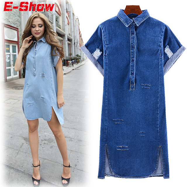 3a1b3c35b4e0 European Street Style 2015 Summer Casual Loose Vintage Ladies Denim Dresses  Short Sleeve Hole Cowboy Dress Jeans Vestidos E356