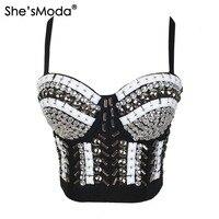 633eb216eed She  39 sModa Queen Rhinestone Bead Bustier Pearls Diamond Push Up Night  Club Bralette Women  39 s Bra Cropped Top Vest Plus Size