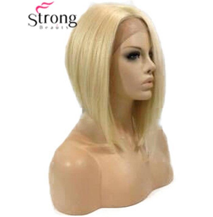Perruque de dentelle Blonde courte Bob droite synthétique avant de lacet perruques résistant à la chaleur
