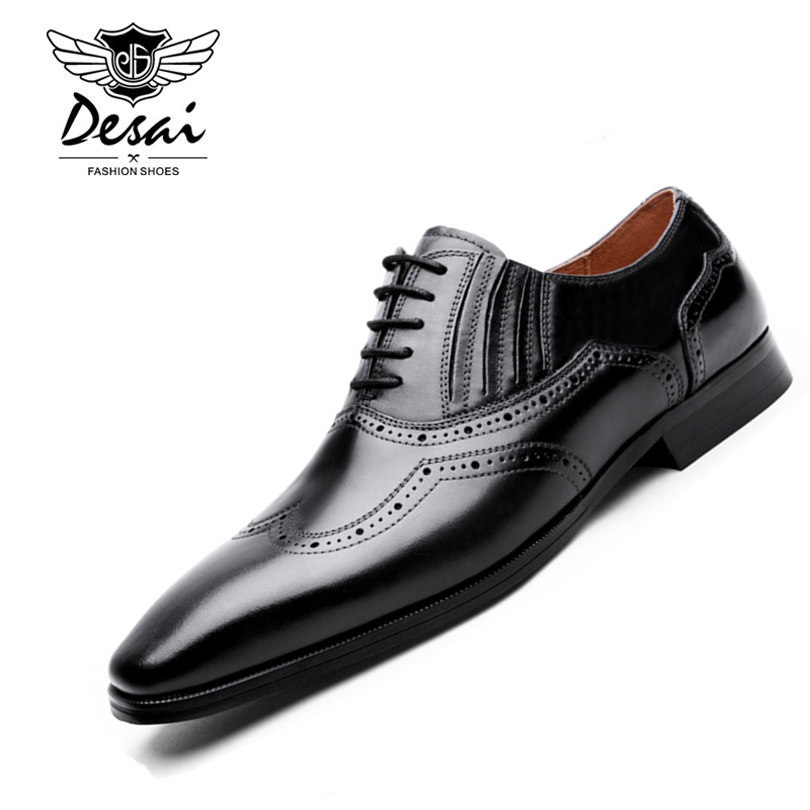 DESAI Brand Men Genuine Leather Wedding Shoes Luxury Pointed Toe Bullock Shoes Hand Sewing Nature Leather