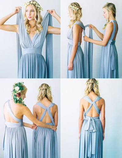 Convertible Blue Chiffon Beach   Bridesmaid     Dresses   Criss-Corss Long Wedding Guest   Dresses   Pleated Vestido De Festa