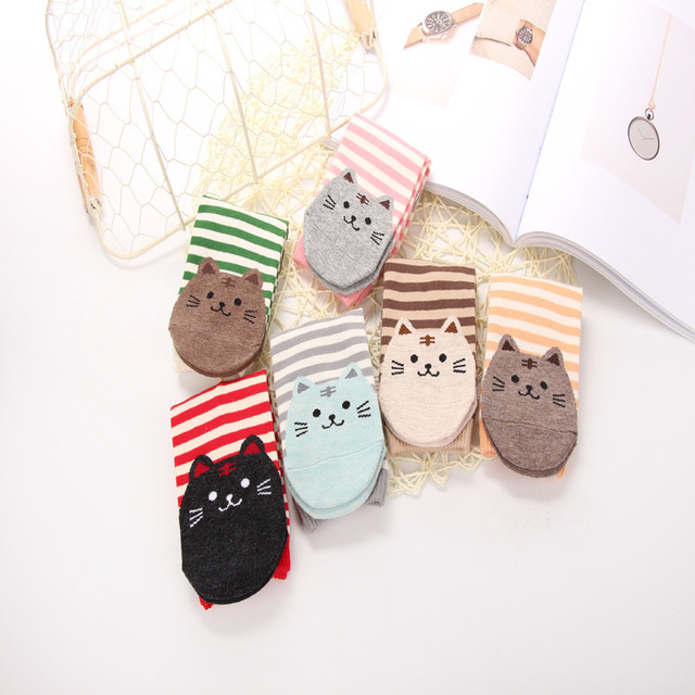 Women's Cat Printed Striped Socks