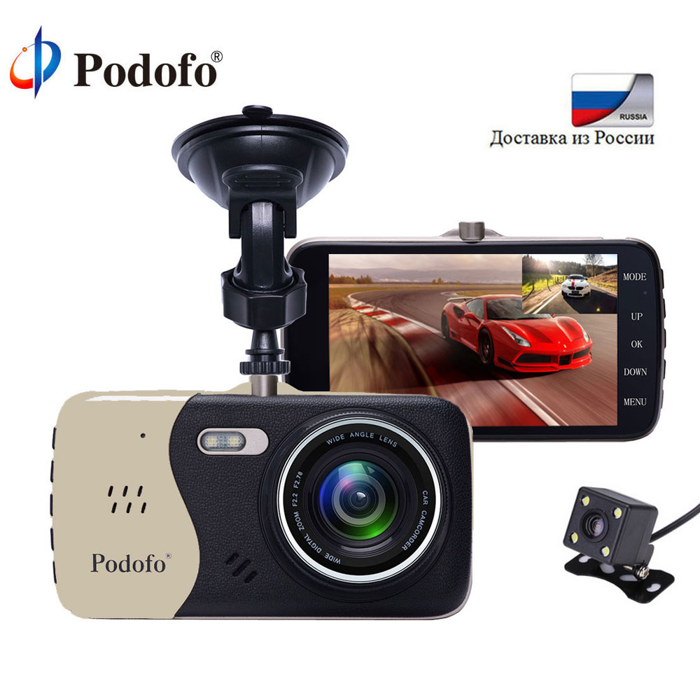 Podofo 4.0 IPS Car DVR Camera Novatek 96658 Dashcam Automobile Video Recorder FHD Dual Lens Car Camcorder With Rearview Camera plusobd best car camera for bmw 5 series e60 e61 rearview mirror camera video recorder automobile car dvr cheapest camcorder