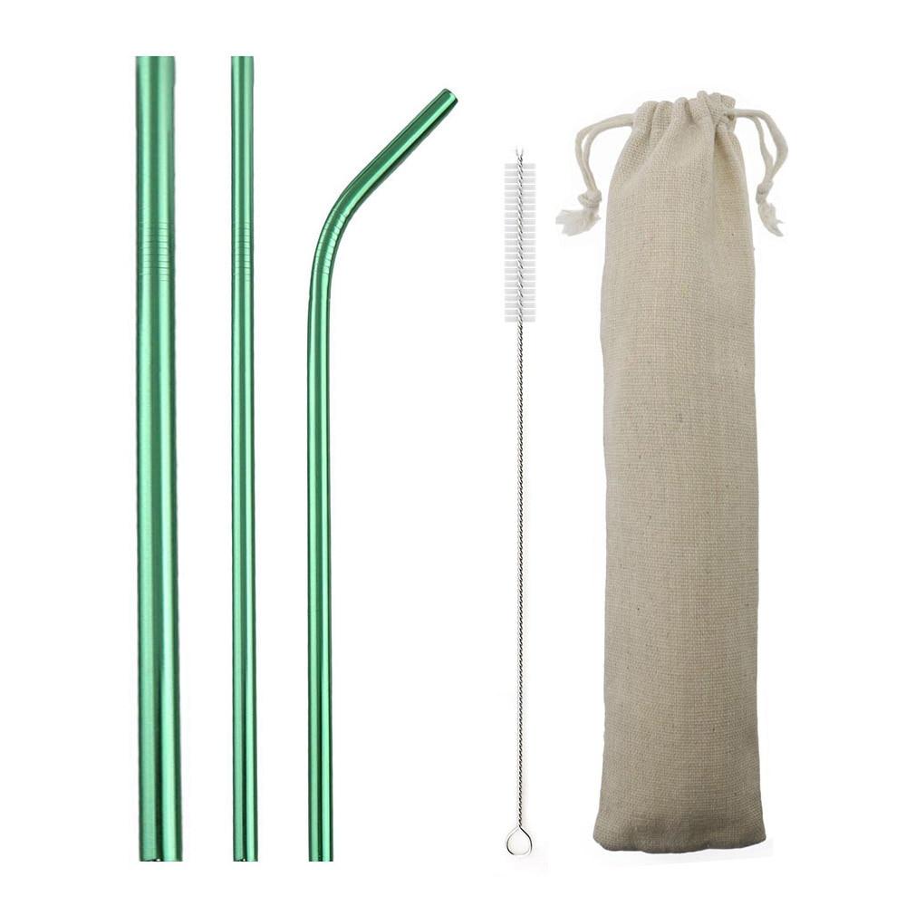 Pailles lisses réutilisables en acier inoxydable 304, 5 pièces, couvercle en Silicone avec sac à brosse, vente en gros