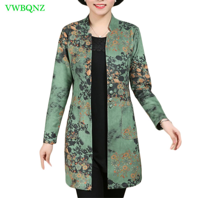 Spring New Thin   Trench   Coat Women Long Printing Windbreaker Coats Women's V collar Single-breasted Plus size Overcoats 6XL A376