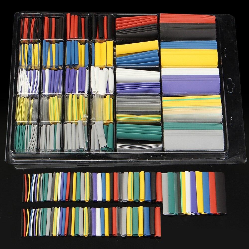 500 pièces polyoléfine 2:1 thermorétractable Tube électrique enveloppement fil câble gaine Kit rétractable ensemble d'assortiment de tubes