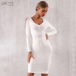 Image 2 - Adyce 2020 novo outono branco bodycon bandage vestido feminino manga longa oco para fora do clube vestidos celebridade noite vestido de festa