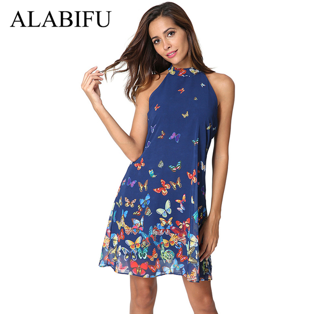 ALABIFU 2018 Floral Summer Dress Women Sexy Off Shoulder Chiffon Beach A  Line Dress Elegant Halter Party Dresses vestidos 2XL 92da73253d6e