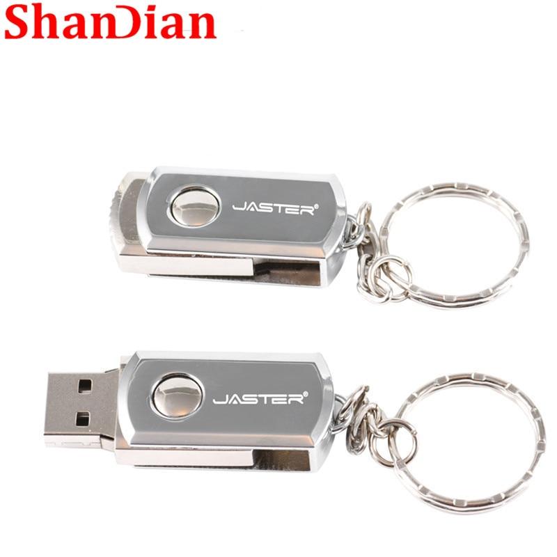 SHANDIAN  USB 2.0 Metal Key Chain USB Flash Drive 16GB 32GB 64GB 128GB Pendrives 4GB  Real Capacity Pen Drive Usb Stick