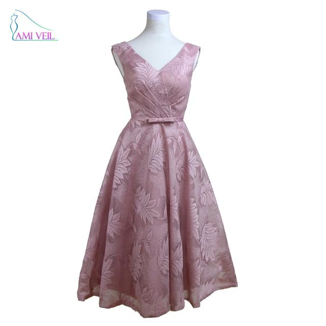 V Neck Pink Prom Dress Evening Short Dress Plus Size Lace Half Gown