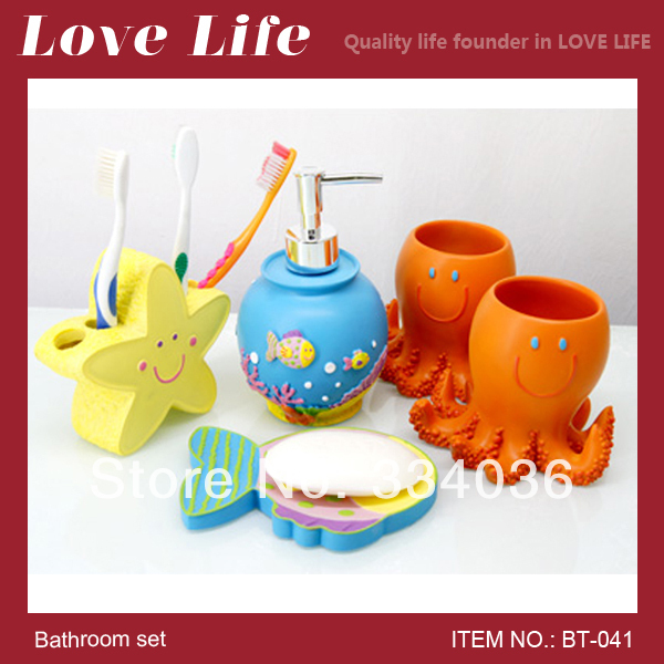 Resin Bathroom Set Fish Lotion Bottle Starfish Toothbrush Holder Devilfish  Toothbrush Cup Fish