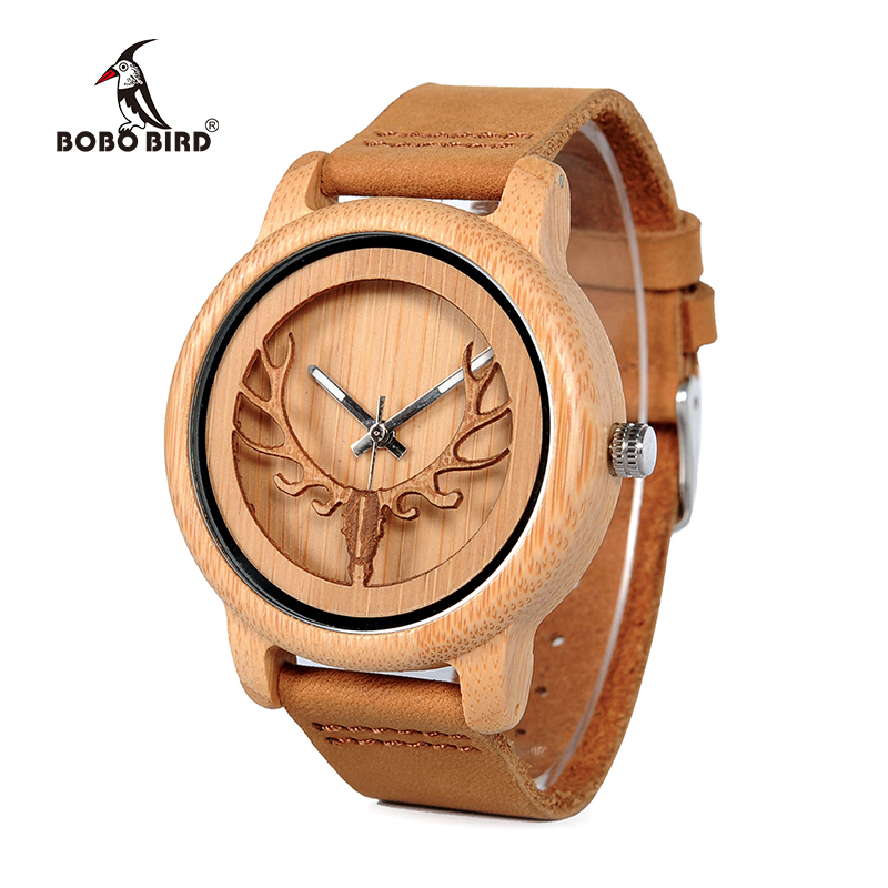 2016 Deer Head WIth Hollow Out Technology Bamboo Wood Casual Watch With Genuine Leather Strap Quartz Watch With Gift Box new world map mens genuine leather quartz watch wood bamboo male wrist watch luxury brand reloj de madera genuine with gift box