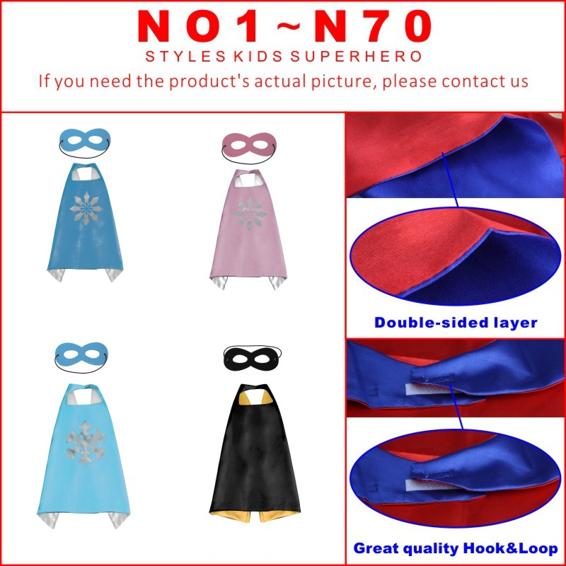 50 Kids Superhero capes   Double sides Satin Fabric super hero cape + mask party supplies for Children's birthday party cosplay