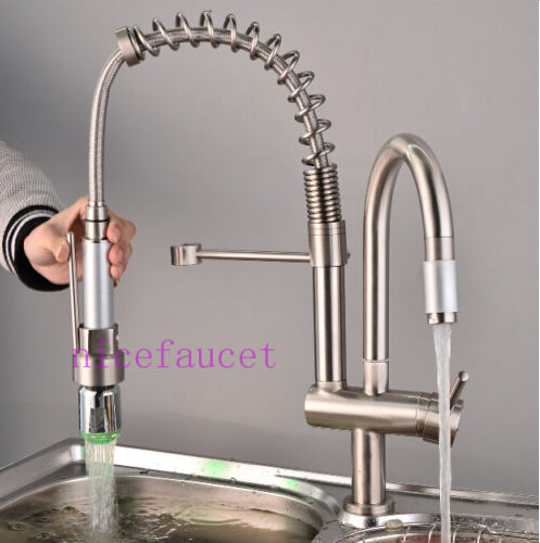 Contemporary Brushed Nickel LED Kitchen Sink Faucet Pull out Spray Swivel Spout Mixer Tap yanksmart brushed nickel swivel spout kitchen sink faucet pull out spray 8525 3 21 basin brass water tap sink faucet taps