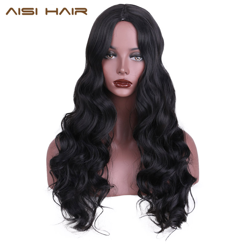 AISI HAIR Synthetic Wig for Black Women Long Cosplay Wigs Wavy Hair with High Temperature