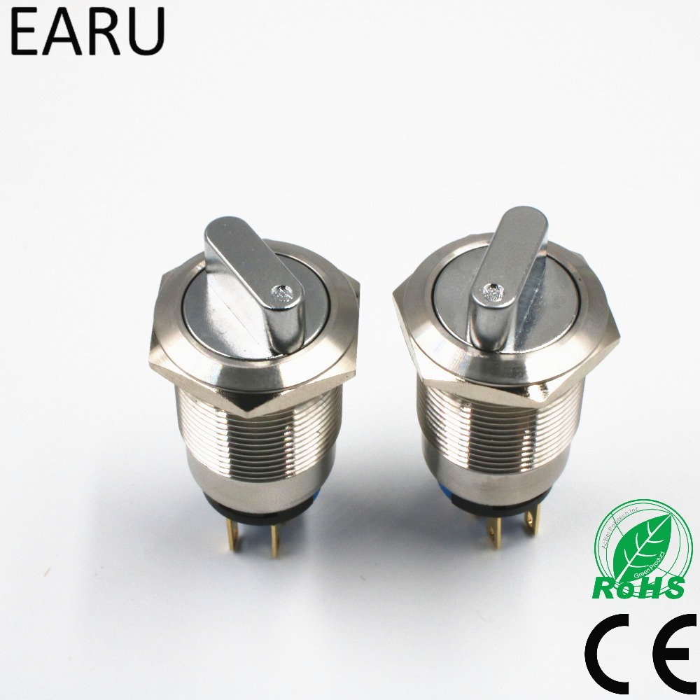 19mm 22mm 2 3 Position Push Button Switch DPDT Selector Knob Rotary Switch Waterproof Stainless Steel Dimmer Light Power Switch