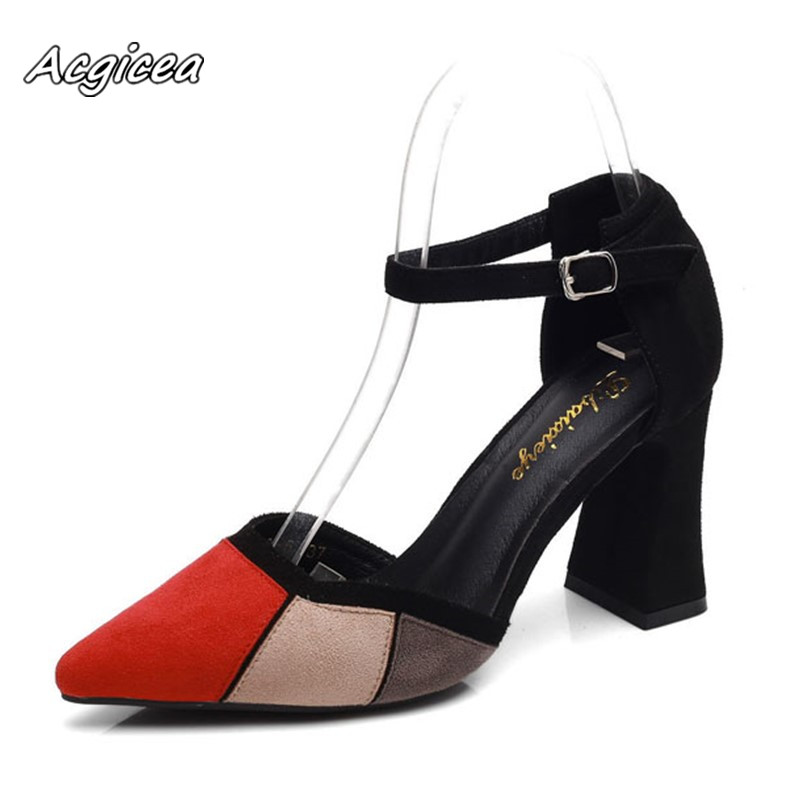 HTB13dJdJIfpK1RjSZFOq6y6nFXaP 2019 Sandalias femeninas high heels Autumn Flock pointed sandals sexy high heels female summer shoes Female sandals mujer s040