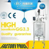 Large volume high Borosilicate GG3.3 Lab Jacketed Chemical Stirred Glass Reactor 150L/ Double wall Glass Reactor distillation