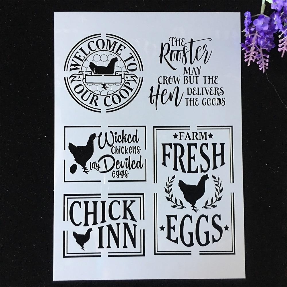 1Pcs A4 29*21cm Chicken Eggs DIY Layering Stencils Painting Scrapbook Coloring Embossing Album Decorative Template