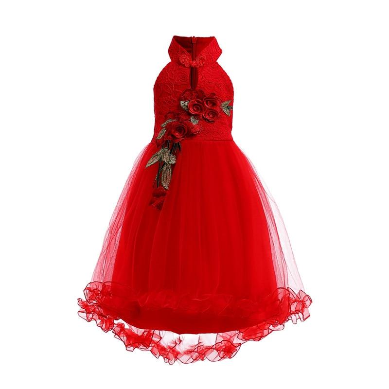 Style chinois mariage fleur fille dentelle longue robe moyen et petit enfants broderie Cheongsam fermeture à glissière robes à queue