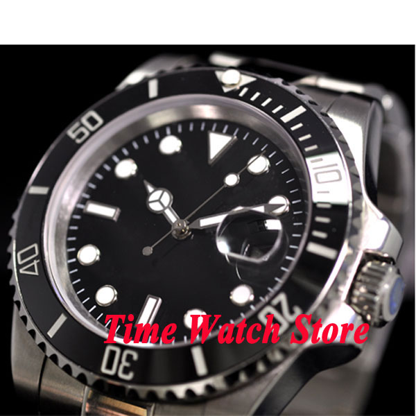 PARNIS watch 40mm Black sterial dial Luminous ceramic bezel Sapphire glass date magnifier Automatic movement Men's watch P6-in Mechanical Watches from Watches    1