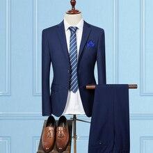 XMY3DWX (Куртки + Штаны) Мужчины осень качество Slim Fit High-End деловой костюм/мужской чистый цвет жениха платье/мужской костюм из двух частей