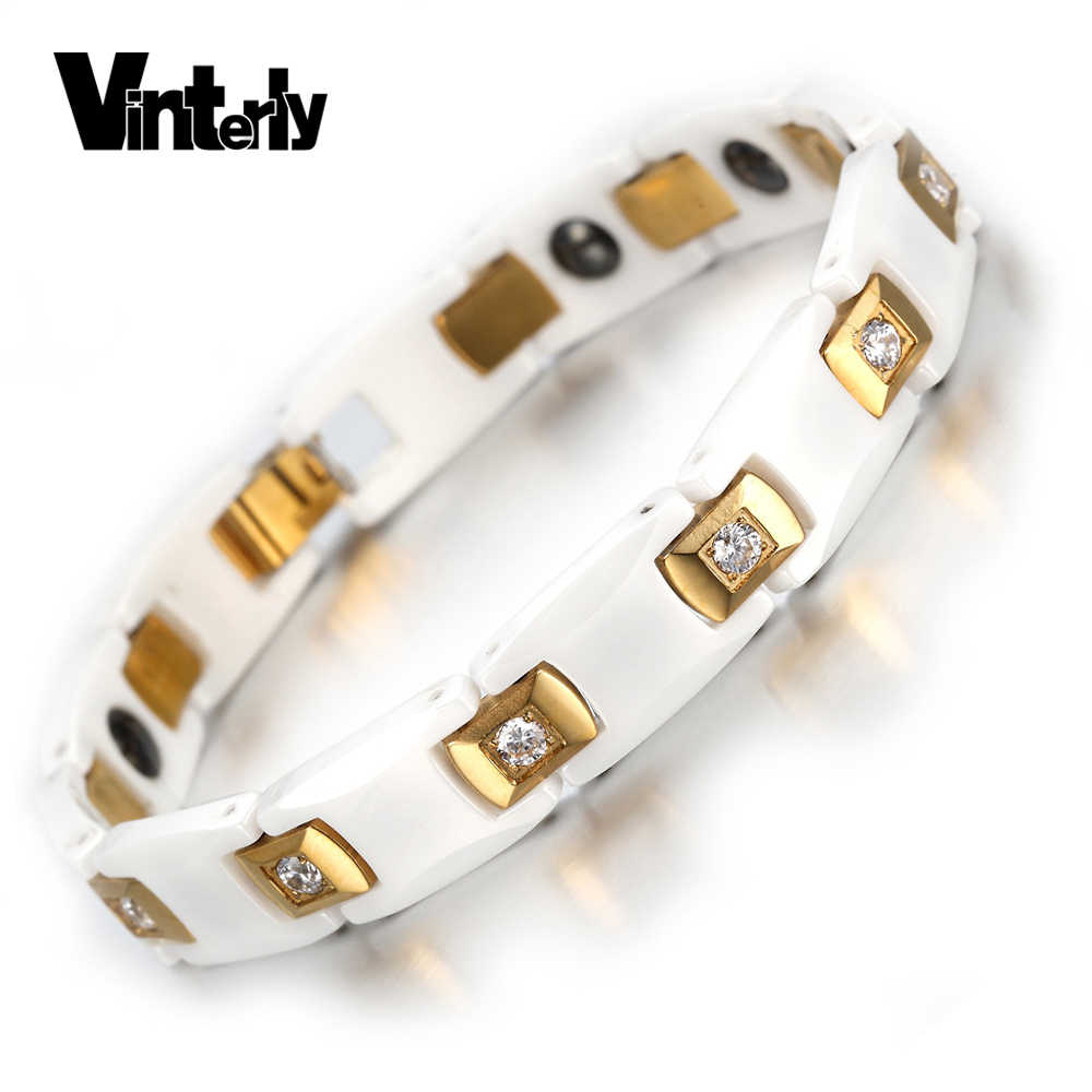Vinterly Women's Gold-color CZ Stone Bracelet Health Energy Hematite Ceramic Bracelets Bangles for Women Jewelry