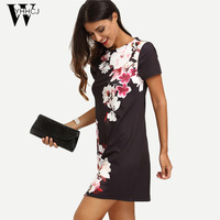 WYHHCJ 2017 Summer Print Dress Casual Dresses For Women Ladies Multicolor Floral Short Sleeve Round Neck